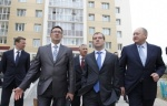 Prime Minister Dmitry Medvedev tours a new housing development during his working visit to Petropavlovsk-Kamchatsky